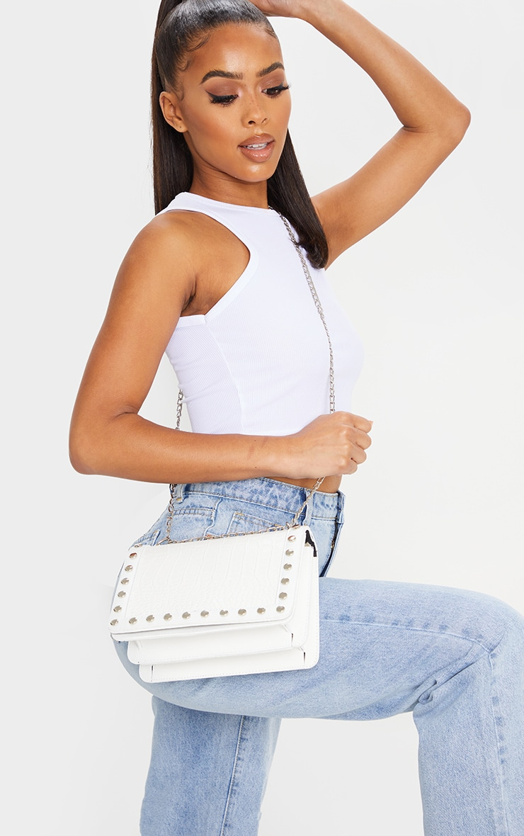 White Studded Croc Cross Body Bag