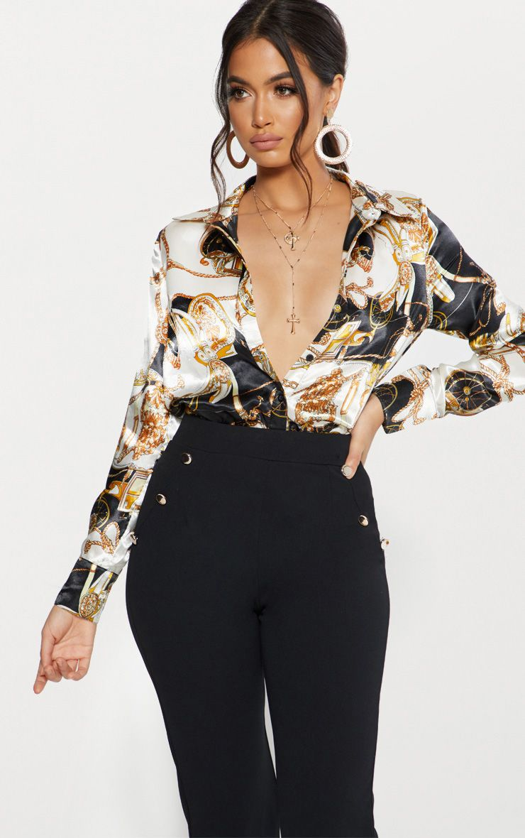 Black Satin Rope Print Oversized Shirt