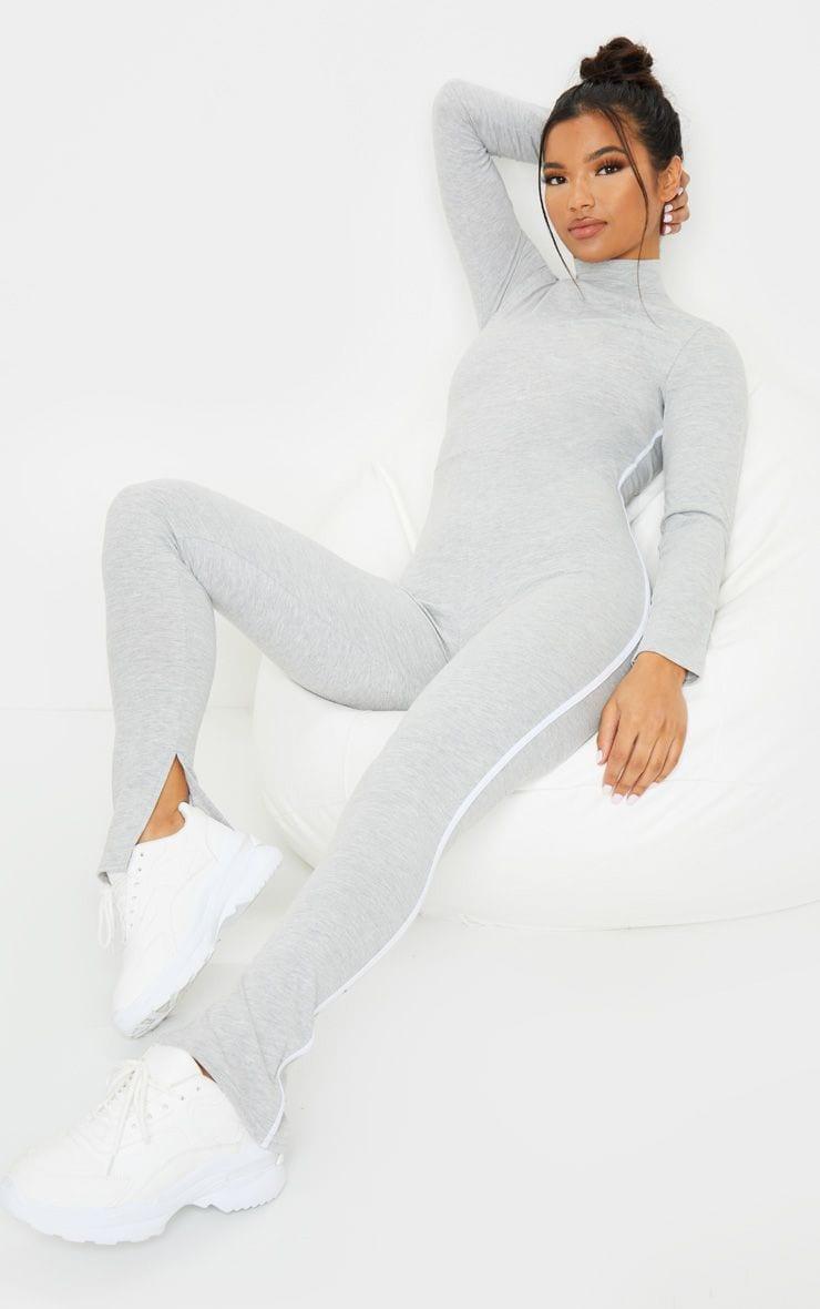 Grey Sports Stripe High Neck Jumpsuit