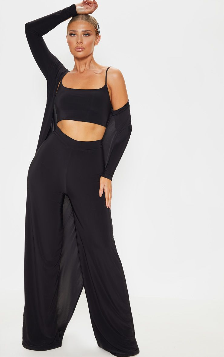 Black Slinky Detail Wide Leg Pants