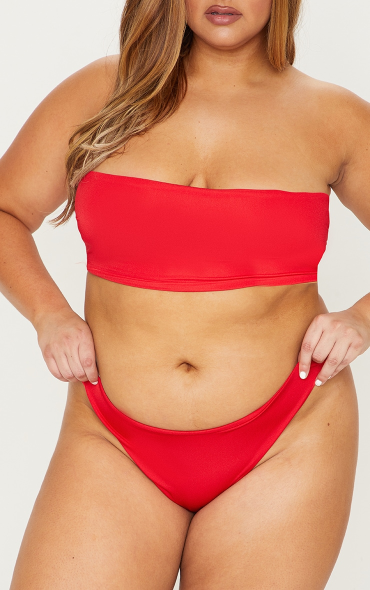 Plus Red Mix & Match Super High Leg Brazilian Bikini Bottom