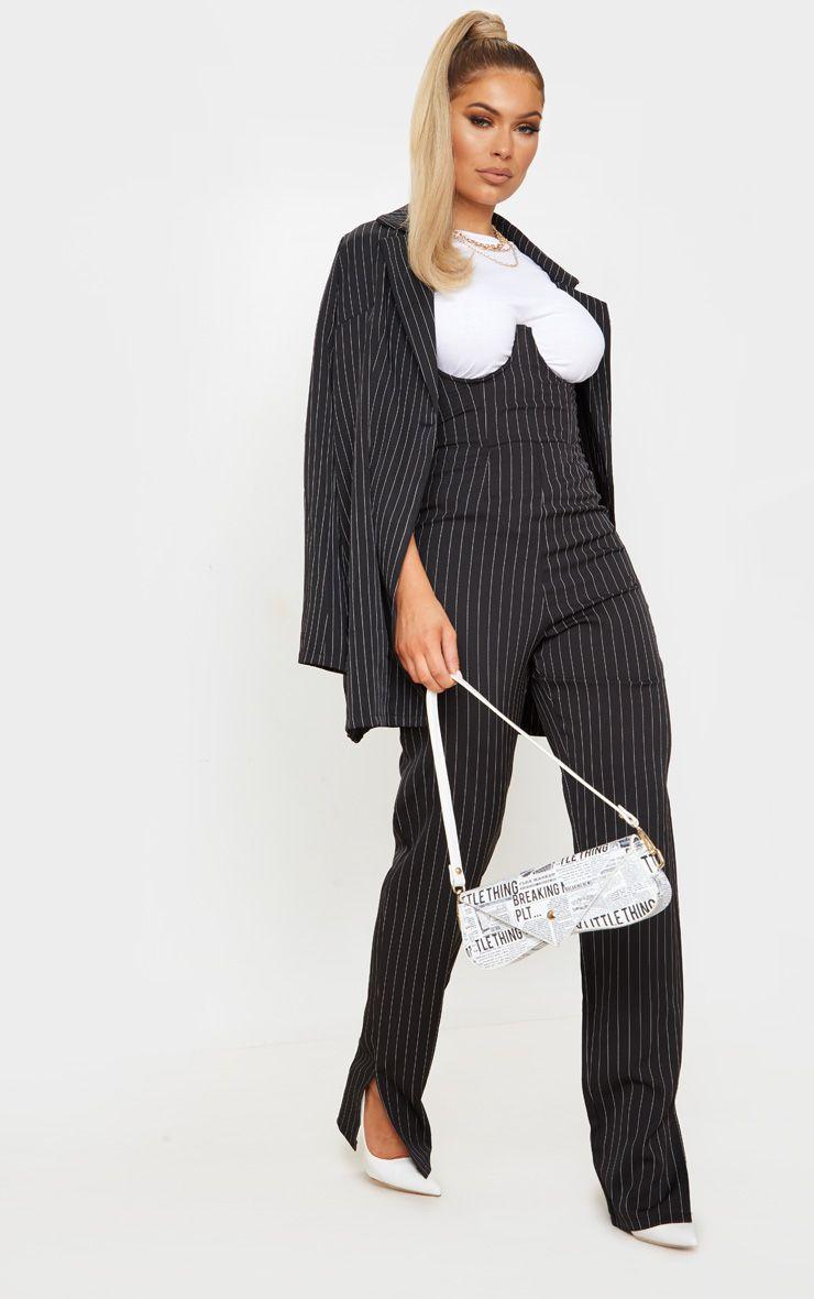 Black Pinstripe Underwire Bandeau Jumpsuit
