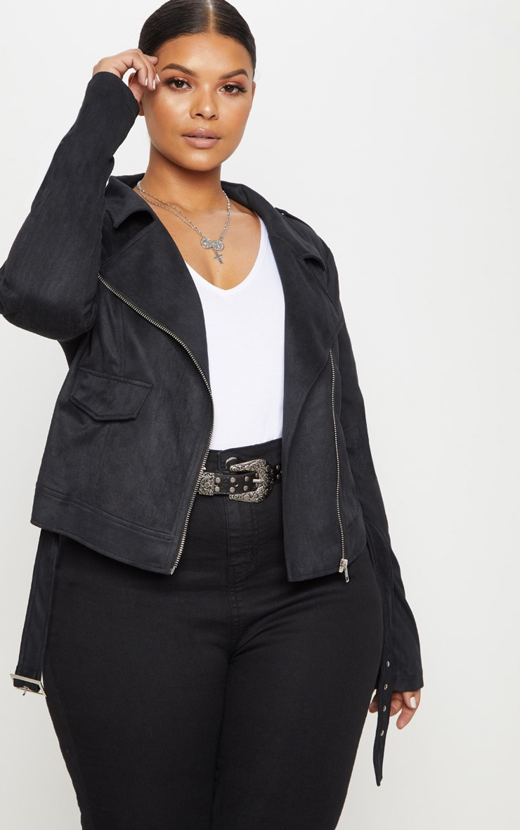 Plus Black Faux Suede Biker Jacket