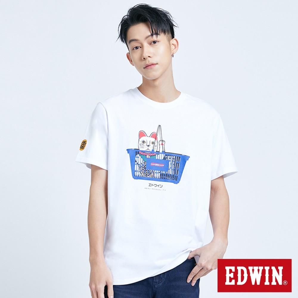 EDWIN 招財貓短袖T恤(白色)-男款