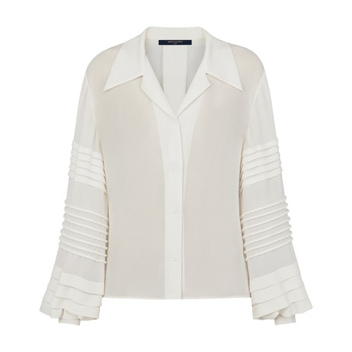 Button-Up Blouse With Intricate Sleeves