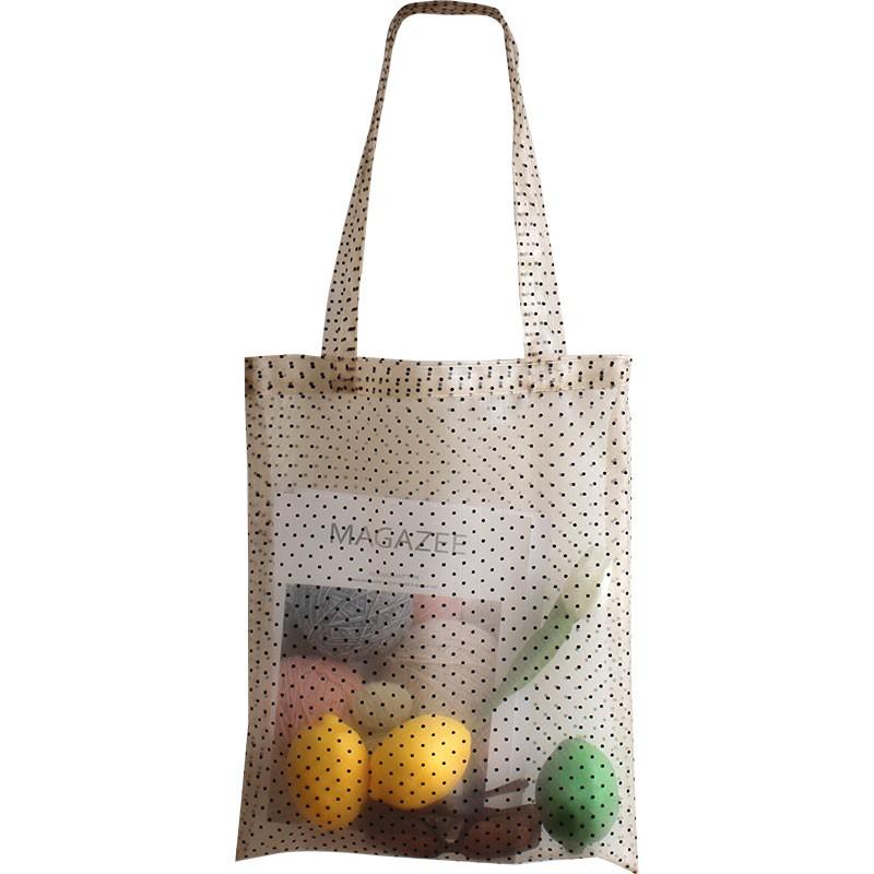 網紗包 Z ins仙氣女單肩包 夏天日正韓手提購物袋簡約百搭波點透明網紗包包