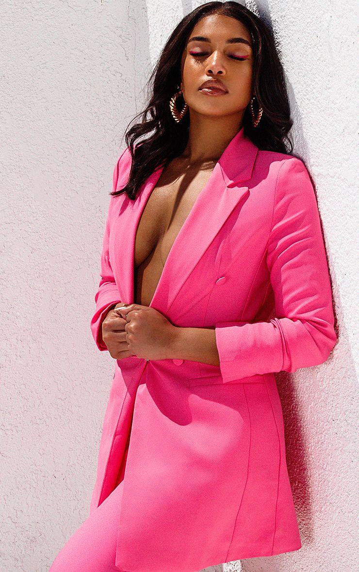 Bubblegum Pink Double Breasted Woven Blazer