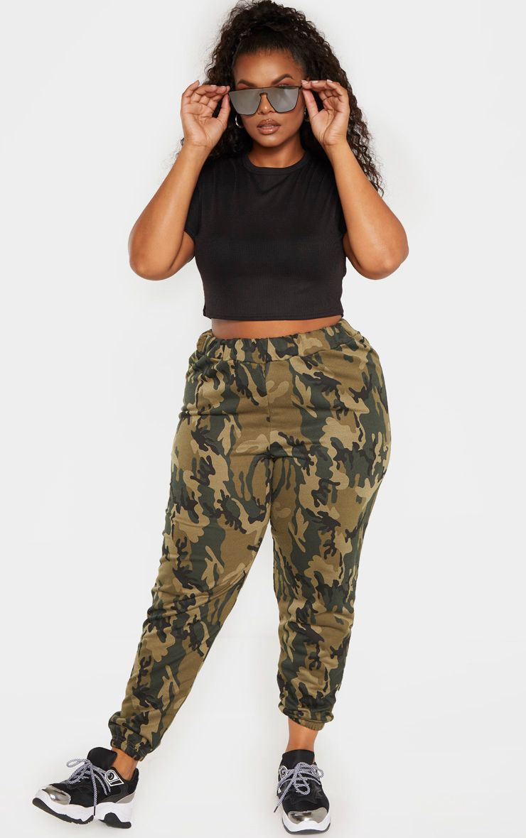 Plus Khaki Camo Track Pants