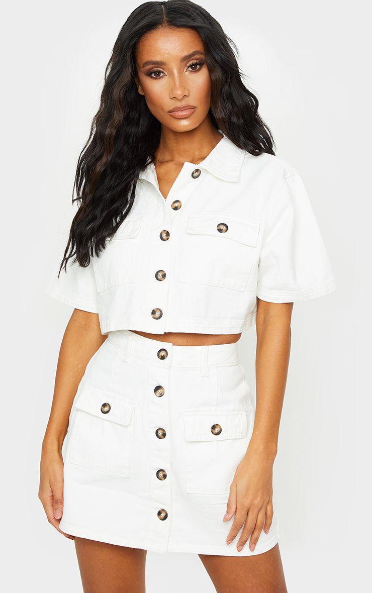 White Button Up Pocket Detail Denim Short Sleeve Shirt
