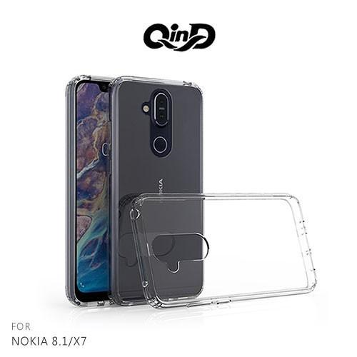 QinD NOKIA 8.1/X7 雙料保護套 硬殼 背殼 手機殼 透明殼 保護殼