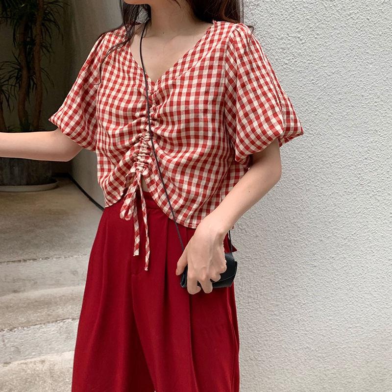 [現貨] 港風chic抽繩短款露臍襯衣 短袖襯衫女 設計感ins潮洋氣小眾短款V領上衣 寬鬆百搭顯瘦上衣