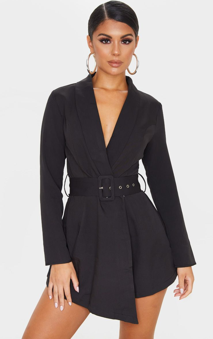 Black Long Sleeve Tailored Belted Playsuit