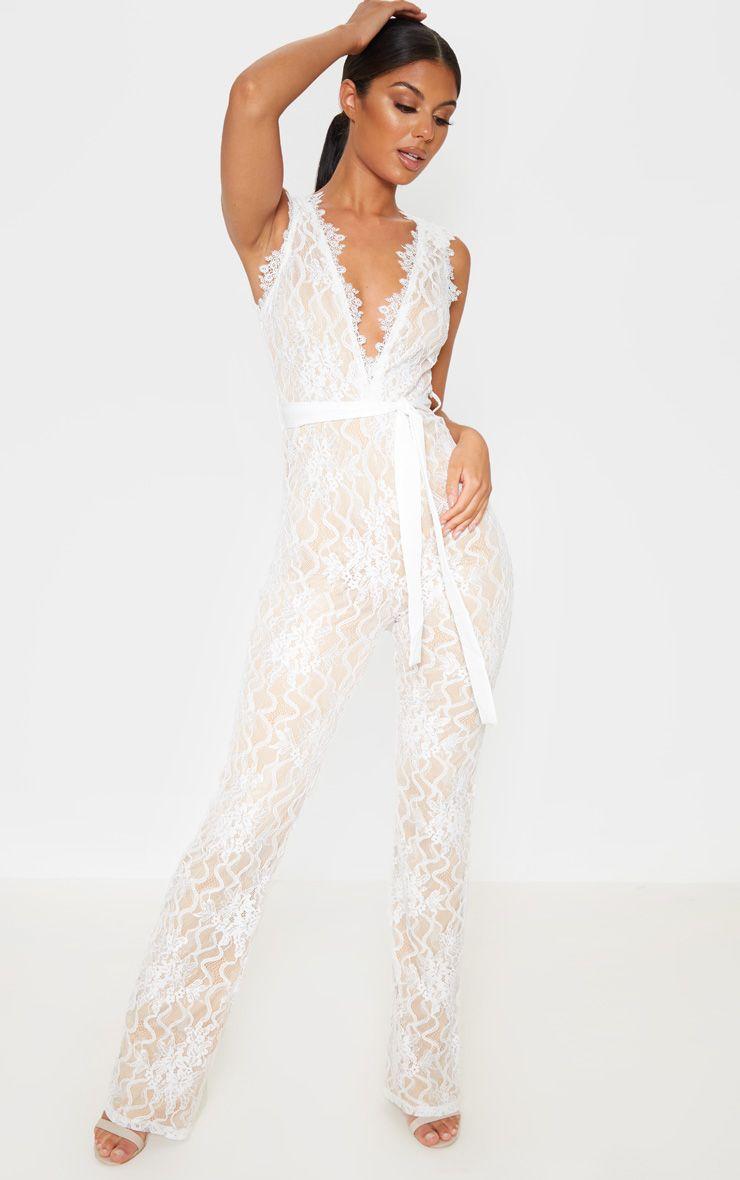 White Lace Contrast Plunge Jumpsuit