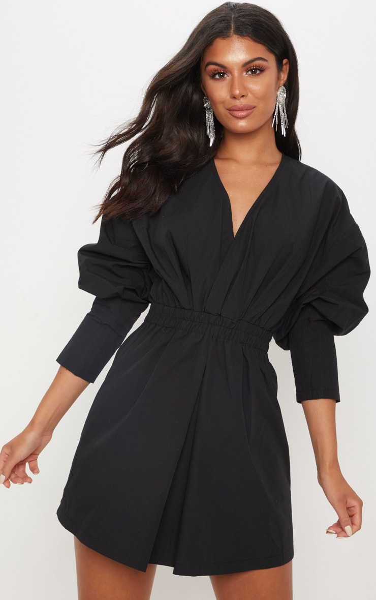 Black Plunge Ruched Shirt Dress