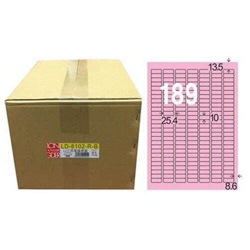 【龍德】A4三用電腦標籤 10x25.4mm 粉紅色 1000入 / 箱 LD-8102-R-B