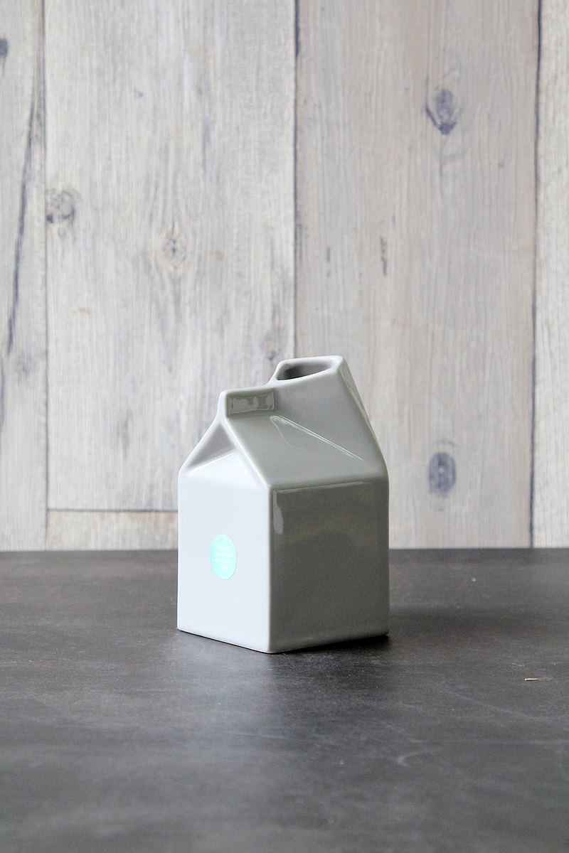 英國進口 典雅牛奶壺造型陶瓷杯/花瓶擺飾(灰色)