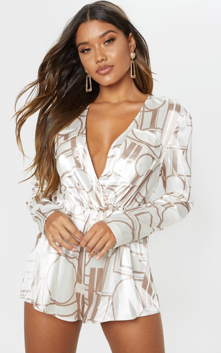 Champagne Chain Print Plunge Playsuit