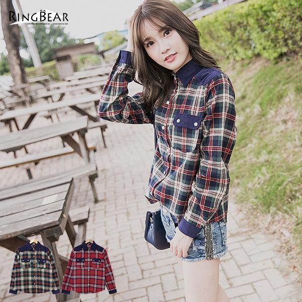 襯衫--個性品味燈芯絨拼接配色口袋格紋長袖襯衫(紅.綠M-2L)-I80眼圈熊中大尺碼