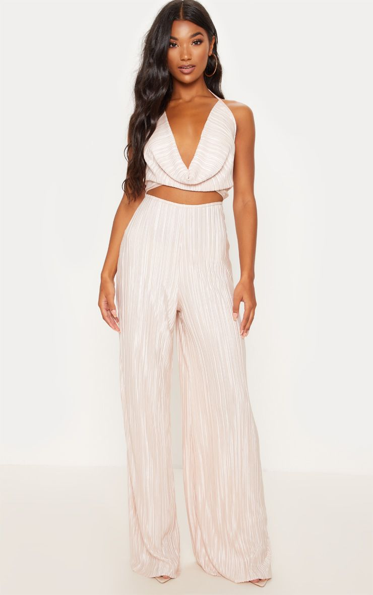 Champagne Pleated Cowl Neck Cut Out Detail Jumpsuit