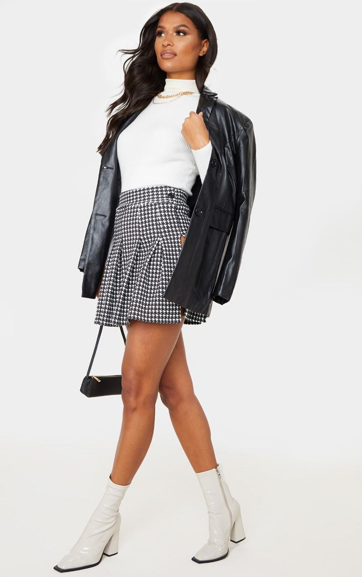 Black Dogtooth Pleated Side Split Tennis Skirt
