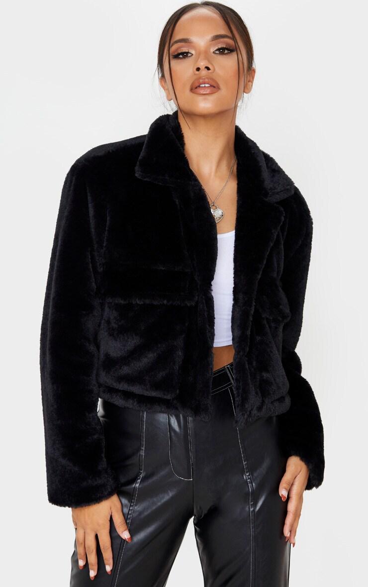 Black Faux Fur Cropped Pocket Jacket
