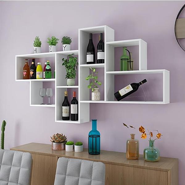置物架 牆上置物架客廳裝飾架餐廳置物架牆上書架臥室床頭掛牆書架簡約 宜品居家
