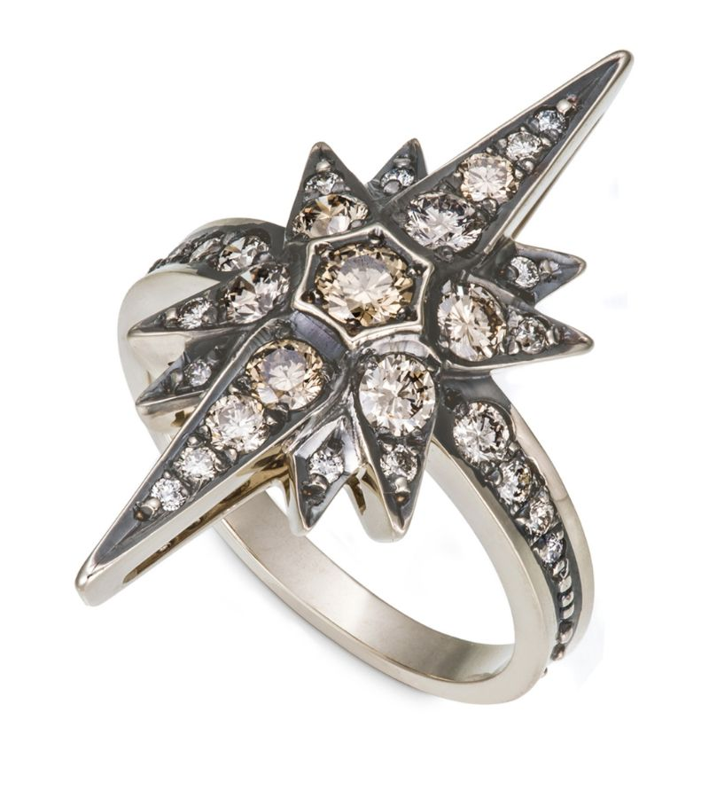 Hstern Noble Gold And Diamond Stars Ring