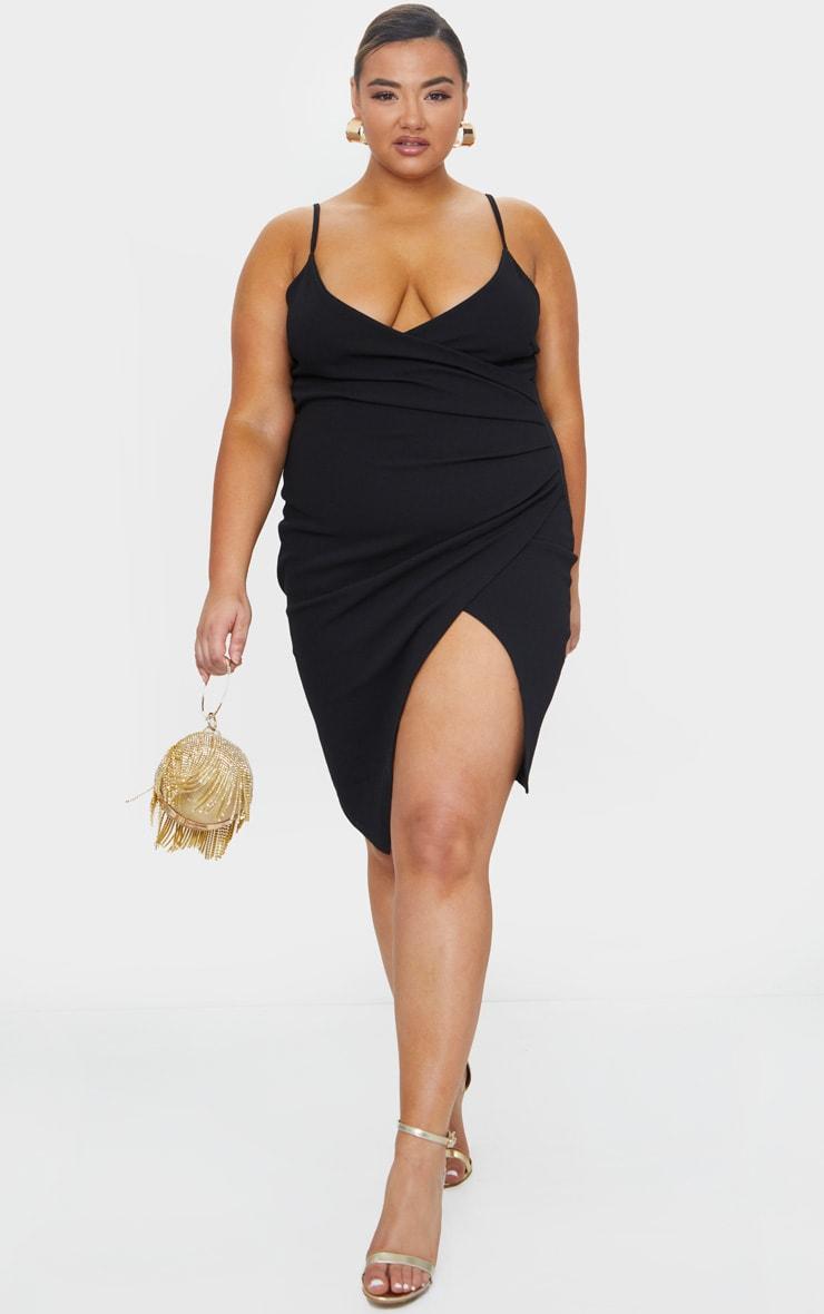 Plus Lauriell Black Wrap Front Crepe Midi Dress