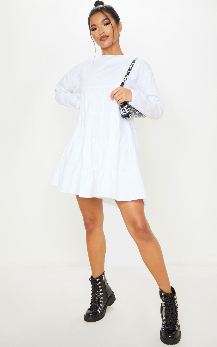 White Tiered Long Sleeve Crew Neck Smock Dress