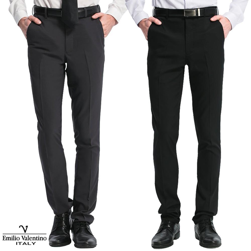 Emilio Valentino 范倫提諾修身彈性平面西褲-兩色