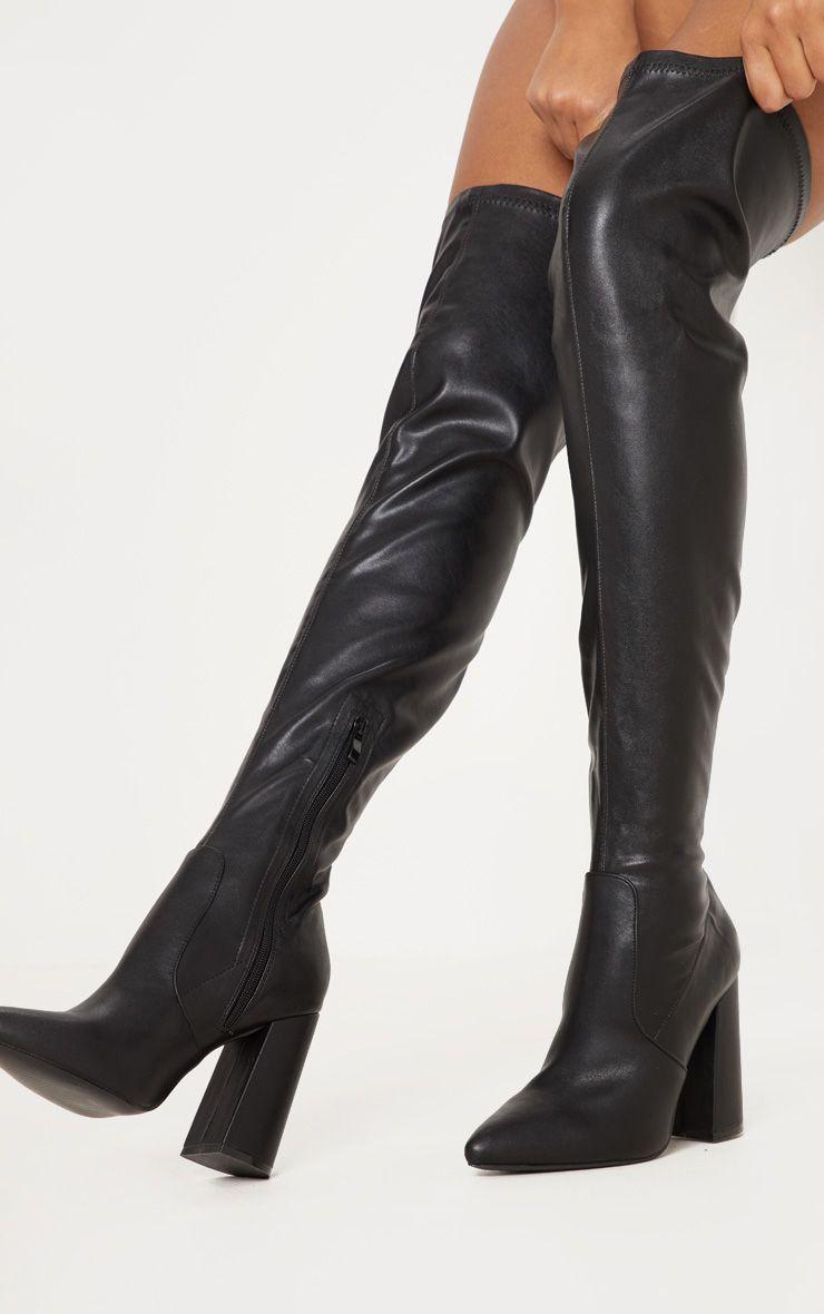 Black Block Heel PU Thigh High Boot