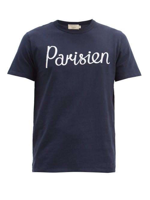 Maison Kitsuné - Parisien-print Cotton-jersey T-shirt - Mens - Navy