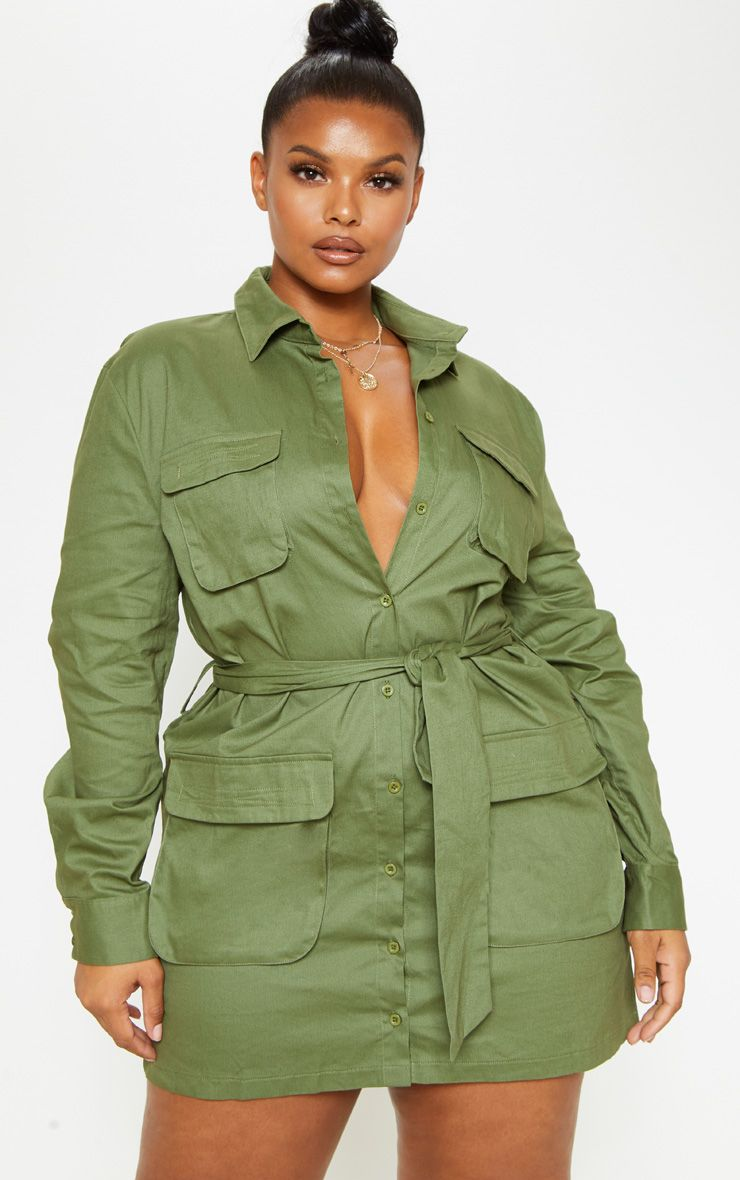 Plus Khaki Utility Tie Waist Shift Dress