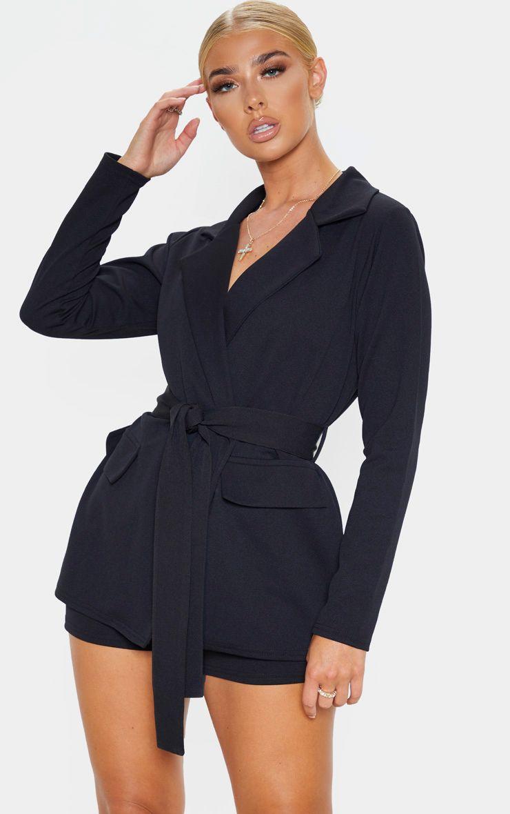 Black Belted Pocket Detail Blazer
