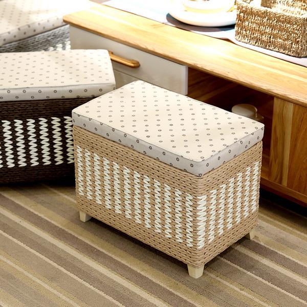 日式收納凳編織收納箱換鞋凳儲物凳田園家居凳門口穿鞋凳儲物箱凳jy 夏洛特居家名品