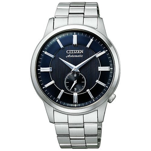 CITIZEN星辰 沉穩質感小秒針機械腕錶/藍色NK5000-98L