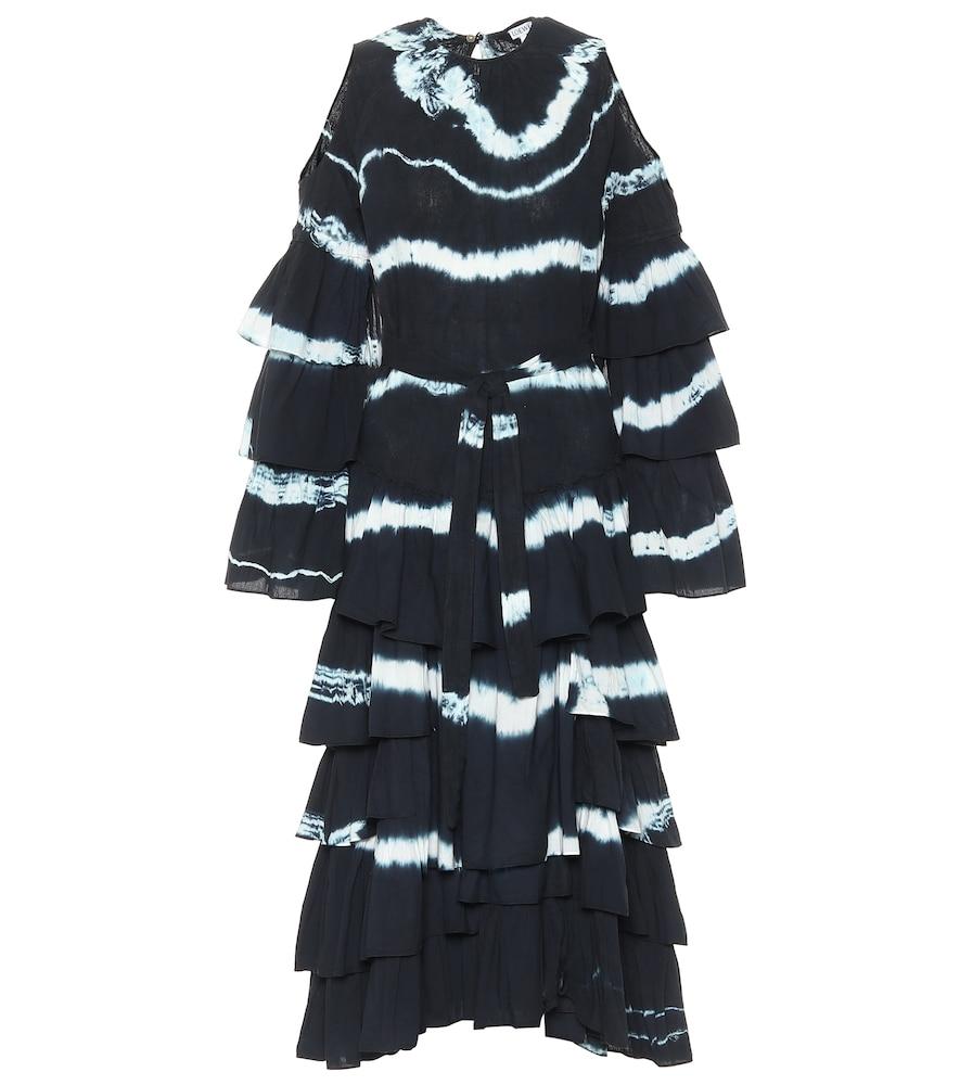 Tie-dye cotton and linen maxi dress