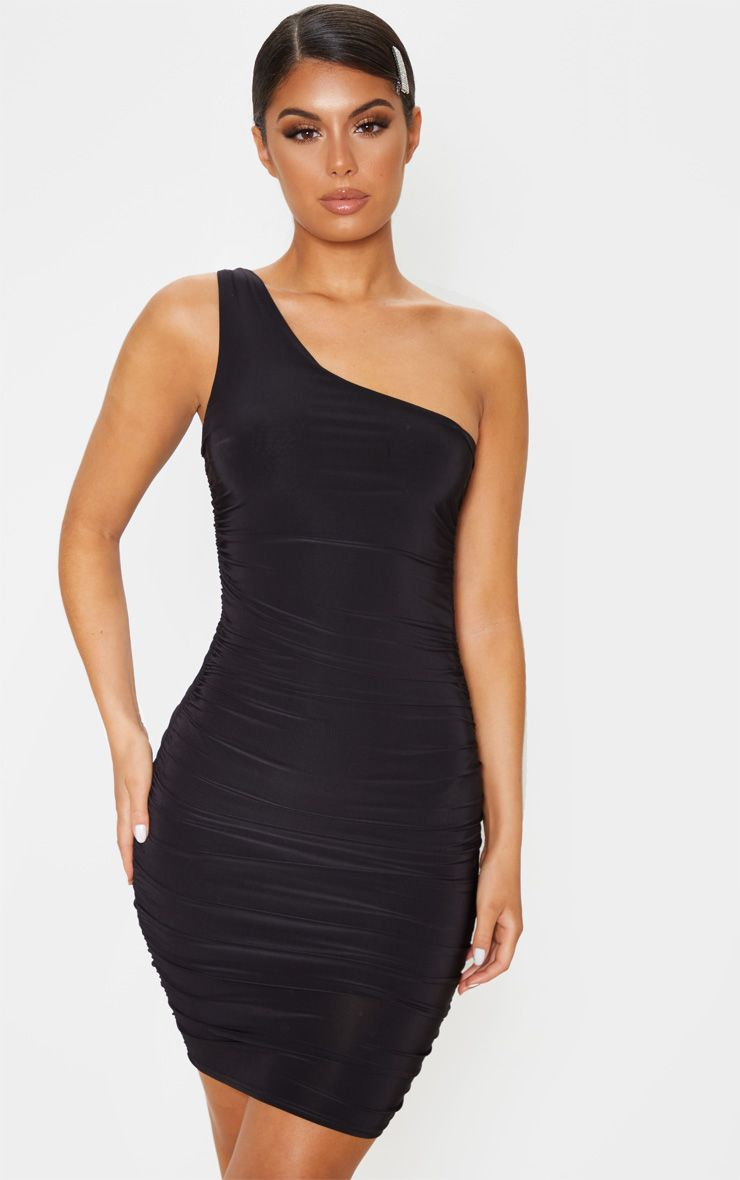 Black Slinky One Shoulder Ruched Bodycon Dress