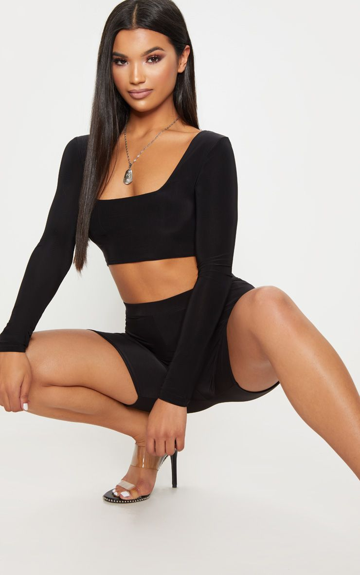 Black Second Skin Square Neck Long Sleeve Top