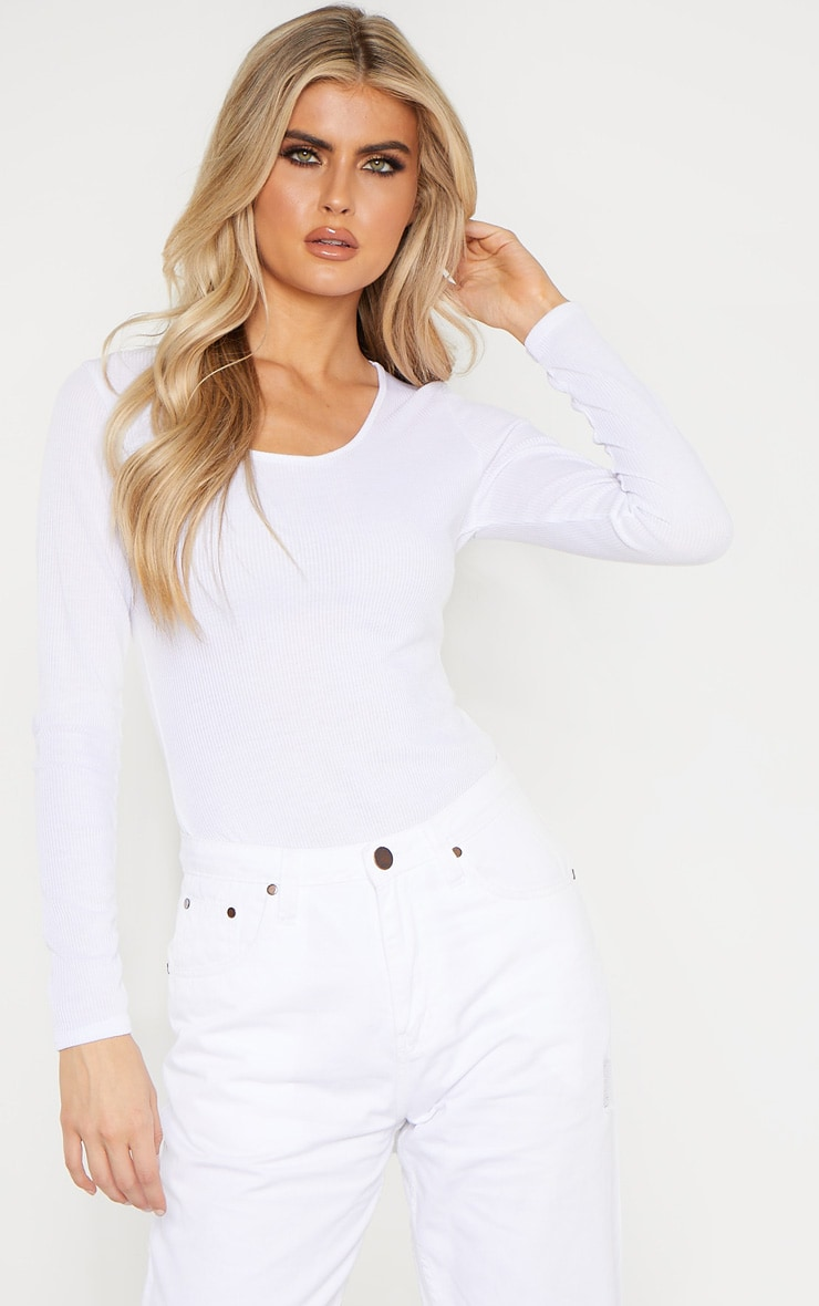 Tall White Ribbed Scoop Neck Long Sleeve Bodysuit