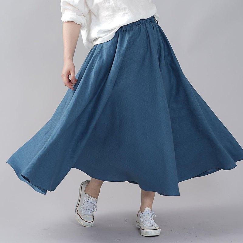wafu-略薄亞麻圓裙亞麻裙喇叭形裙mimore長長腰圍橡膠/薄腰帶薄s002f-ush1