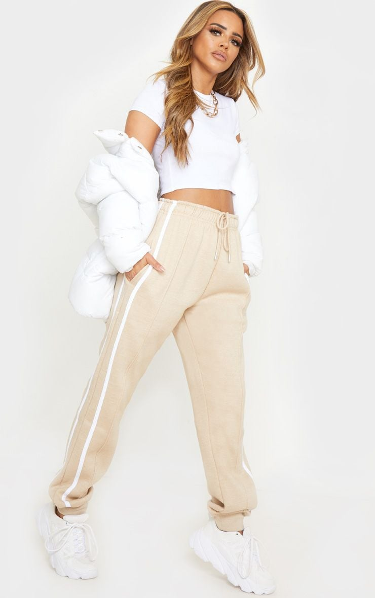 Petite Stone Double Side White Stripe Track Pants