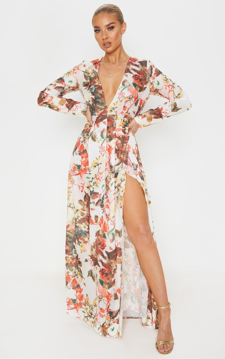 Floral Print Plunge Long Sleeve Maxi Dress