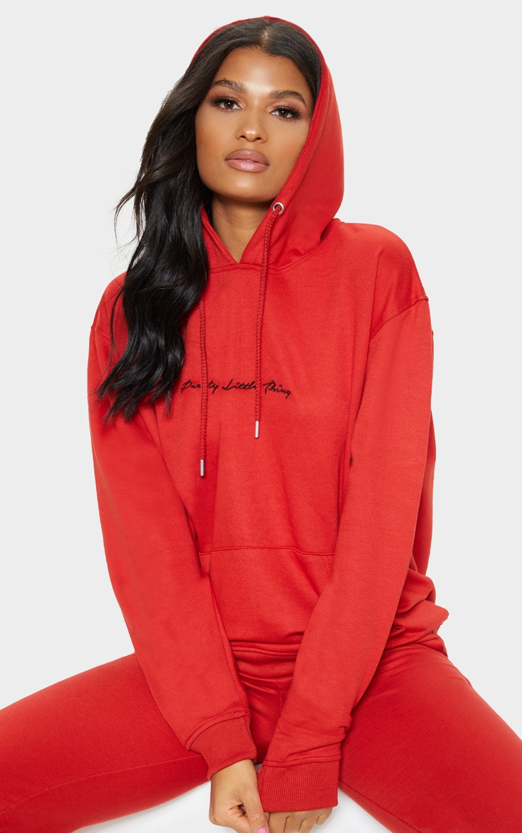 PRETTYLITTLETHING Red Embroidered Oversized Hoodie