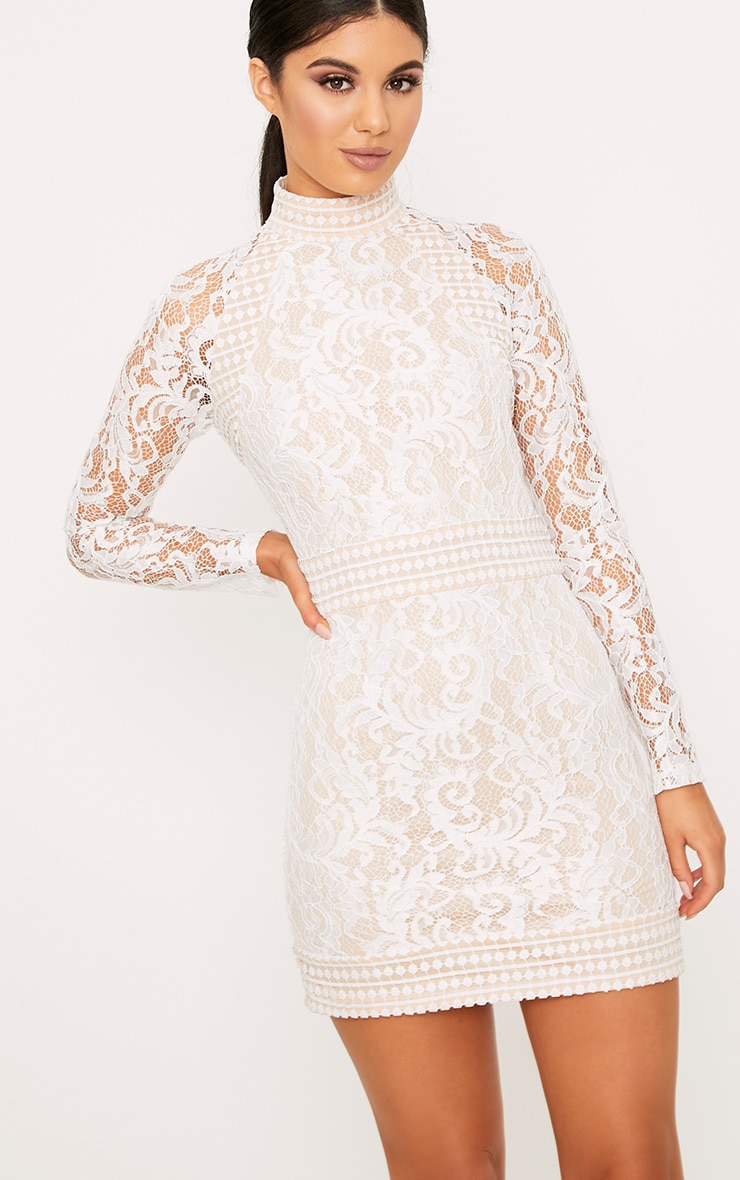 Isobel White Lace High Neck Bodycon Dress