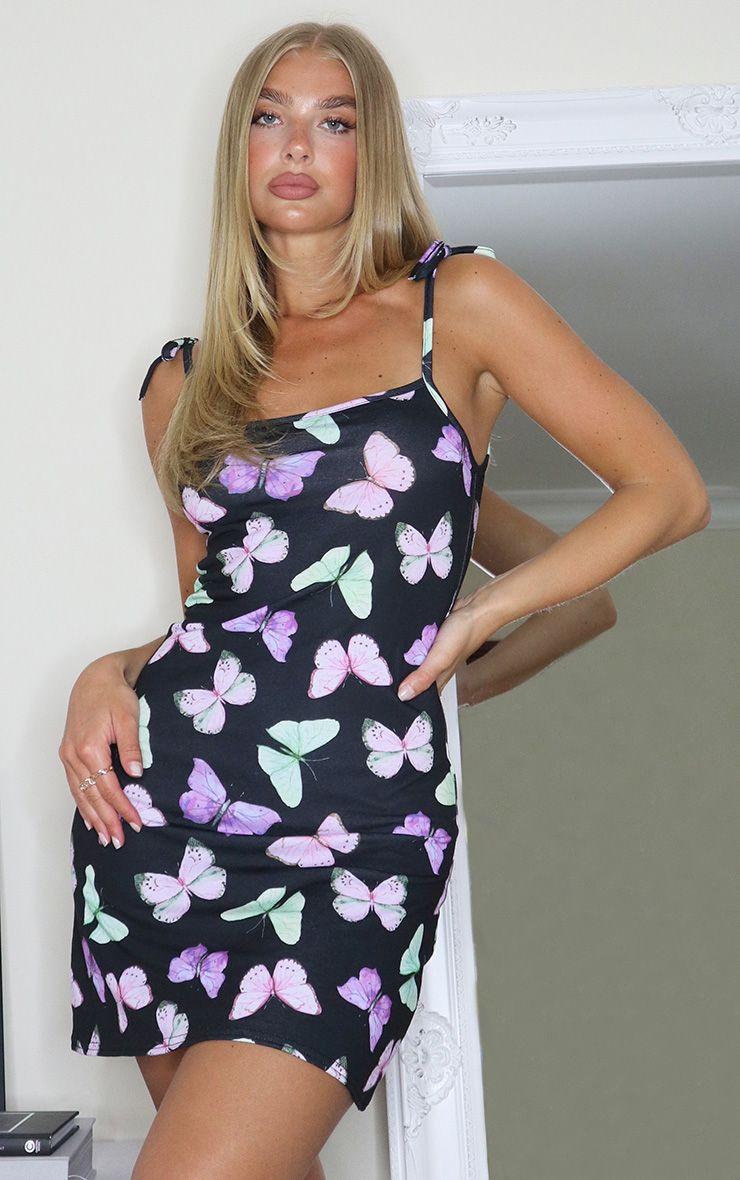 Black Butterfly Print Tie Strap Shift Dress