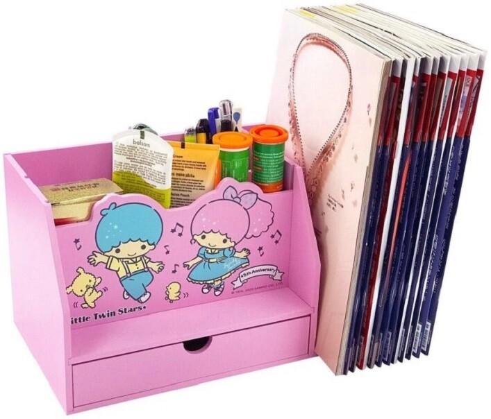 正版授權木製 雙子星 多功能筆筒書架盒 桌上收納盒