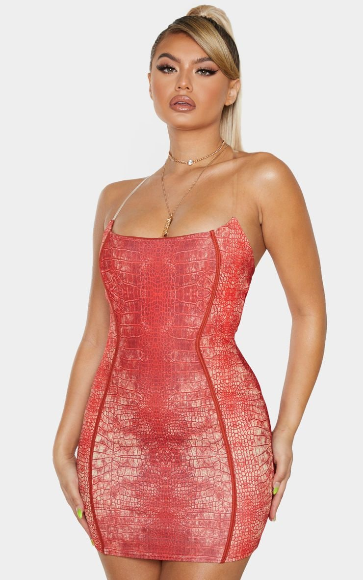 Red Snake Print Binded Detail Clear Strap Bodycon Dress