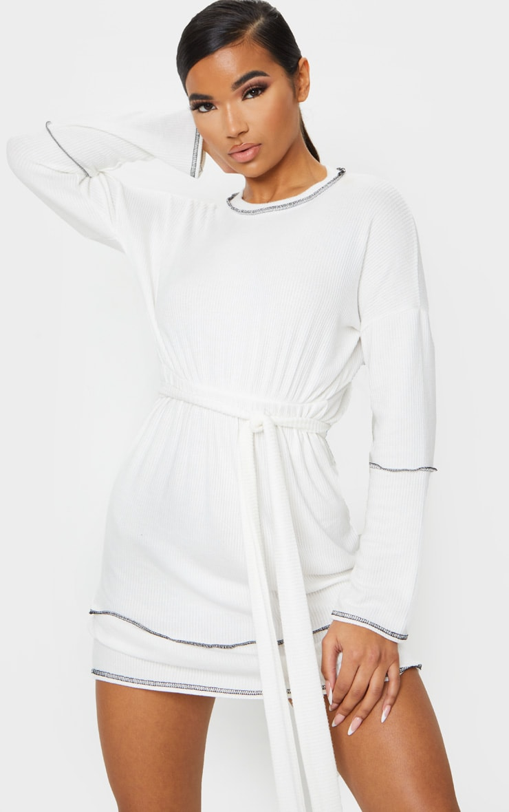 White Brushed Rib Contrast Trim Tie Waist Long Sleeve Shift Dress