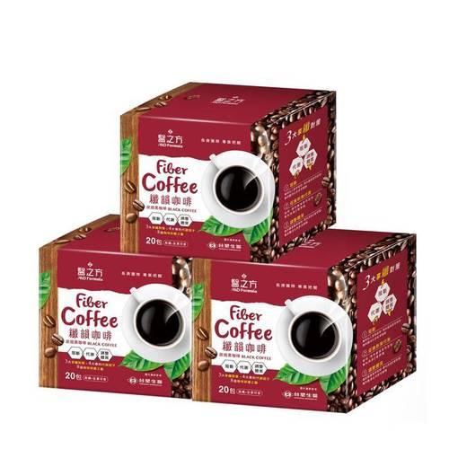 台塑生醫 纖韻咖啡食品-炭焙黑咖啡(20包入)*3盒
